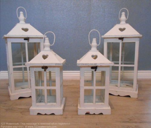 Large & Small Square Lantern with Heart Design (Set Of 4)